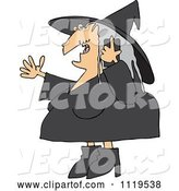 Vector of Cartoon Halloween Witch Talking on a Cell Phone by Djart