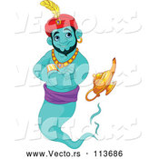 Vector of Cartoon Handsome Turquoise Male Jinn Genie Emerging from His Lamp and Smiling by Pushkin