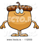 Vector of Cartoon Happy Acorn Character Smiling by Cory Thoman