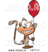 Vector of Cartoon Happy Birthday Monkey Holding a Party Balloon by Toonaday