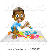 Vector of Cartoon Happy Black Boy Kneeling and Painting Artwork by AtStockIllustration