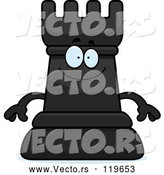 Vector of Cartoon Happy Black Chess Rook Mascot by Cory Thoman