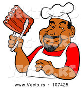Vector of Cartoon Happy Black Male BBQ Chef Holding Ribs with Tongs by LaffToon