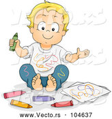 Vector of Cartoon Happy Blond White Boy Covered in Crayon Scribbles by BNP Design Studio