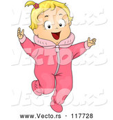 Vector of Cartoon Happy Blond White Toddler Girl in a Pink Onesie by BNP Design Studio