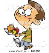 Vector of Cartoon Happy Brunette White School Boy Carrying a Cafeteria Lunch Tray by Toonaday