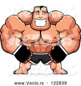 Vector of Cartoon Happy Buff MMA Fighter by Cory Thoman