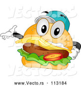 March 28th, 2018: Vector of Cartoon Happy Cheeseburger Character Wearing a Baseball Cap and Presenting by BNP Design Studio