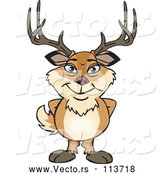 Vector of Cartoon Happy Deer Buck Standing by Dennis Holmes Designs