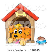 Vector of Cartoon Happy Dog Panting in a House by Visekart