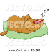 Vector of Cartoon Happy Dog Sleeping on His Bed Pillow by Yayayoyo