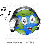 Vector of Cartoon Happy Earth Mascot Listening to Music with Headphones by BNP Design Studio