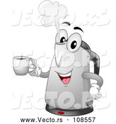 Vector of Cartoon Happy Electric Kettle Character Holding a Coffee Mug by BNP Design Studio