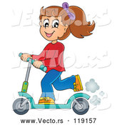 Vector of Cartoon Happy Girl Riding a Scooter by Visekart