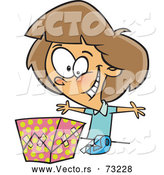 Vector of Cartoon Happy Girl Wrapping Present by Toonaday
