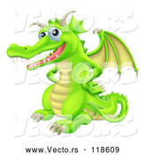 March 21st, 2018: Vector of Cartoon Happy Green Dragon with His Hands on His Hips by AtStockIllustration