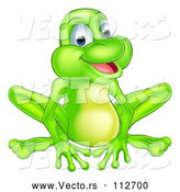 Vector of Cartoon Happy Green Frog Sitting by AtStockIllustration