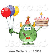 Vector of Cartoon Happy Green Horned Monster Holding a Birthday Cake and Party Balloons by Hit Toon