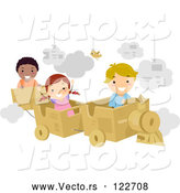Vector of Cartoon Happy KChildren Playing with a Cardboard Train by BNP Design Studio