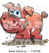 Vector of Cartoon Happy Muddy Pig by Vector Tradition SM