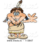 Vector of Cartoon Happy Native American Indian Lady Waving by Dennis Holmes Designs