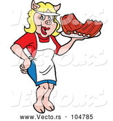 Vector of Cartoon Happy Pig Waitress Serving Bbq Ribs by LaffToon