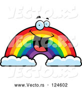 Vector of Cartoon Happy Rainbow with Two Clouds by Cory Thoman