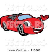 Vector of Cartoon Happy Red Convertible Car Mascot Character Welcoming by Toons4Biz
