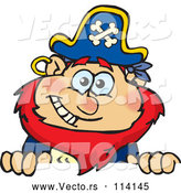 Vector of Cartoon Happy Red Haired Male Pirate Peeking over a Sign by Dennis Holmes Designs