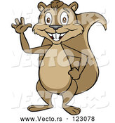 Vector of Cartoon Happy Squirrel Waving and Standing Upright by Cartoon Solutions