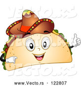 Vector of Cartoon Happy Taco Mascot Holding a Thumb up and Wearing a Sombrero by BNP Design Studio