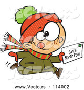 Vector of Cartoon Happy White Boy Running with a Christmas Santa Letter by Toonaday