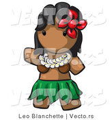 Vector of Cartoon Hawaiian Hula Girl with Red Flower and Skirt by Leo Blanchette