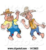 Vector of Cartoon Hillbilly Pigs Fighting by LaffToon