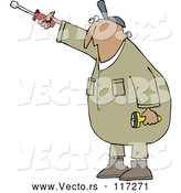 Vector of Cartoon Hispanic Worker Guy Pointing with a Nut Driver by Djart