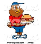 Vector of Cartoon Hungry Boy Chicken Holding a Pulled Pork Sandwich by LaffToon