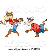 Vector of Cartoon Hungry Male Cow Kissing up to a Female Chef Cow Carrying Bbq Ribs and Brisket by LaffToon