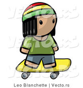 Vector of Cartoon Jamaican Boy Skateboarding by Leo Blanchette