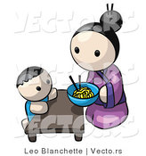 Vector of Cartoon Japanese Mother Feeding Child Saimin Noodles by Leo Blanchette