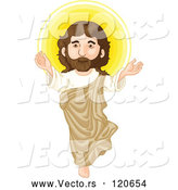 Vector of Cartoon Jesus Christ and Glowing Light by Graphics RF