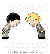 Vector of Cartoon Karate Boys Bowing Towards Each Other - Sign of Respect by Leo Blanchette
