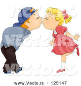 Vector of Cartoon Kid Couple Bending over to Kiss by BNP Design Studio