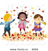 Vector of Cartoon Kids Playing in Autumn Leaves by BNP Design Studio