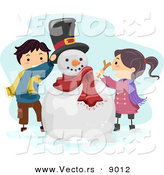 Vector of Cartoon Kids Putting a Hat and Stick Arms on a Snowman by BNP Design Studio