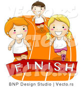 Vector of Cartoon Kids Racing to a Finish Line on a Track by BNP Design Studio