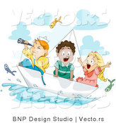 Vector of Cartoon Kids Watching Fish Fly Above Water While Sailing in a Paper Boat by BNP Design Studio
