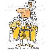 Vector of Cartoon King George in a Yellow Outfit by Toonaday