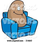 Vector of Cartoon Lazy Couch Potato on a Blue Chair by Cory Thoman