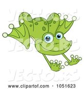 Vector of Cartoon Leaping Green Frog by Hit Toon
