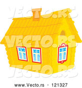 Vector of Cartoon Log Cabin Home by Alex Bannykh